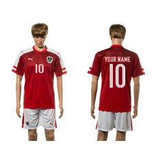 European Cup 2016 Austria home 10 customized red soccer jerseys