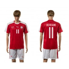 European Cup 2016 Switzerland home 11 Behrami red soccer jerseys
