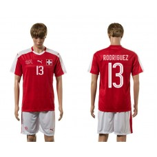 European Cup 2016 Switzerland home 13 Rodriguez red soccer jerseys