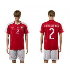 European Cup 2016 Switzerland home 2 Lichtsteiner red soccer jerseys