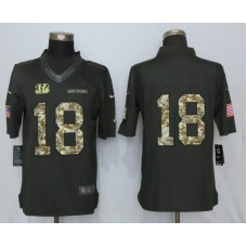 2017 Men Cincinnati Bengals 18 Green Anthracite Salute To Service Green New Nike Limited NFL Jersey
