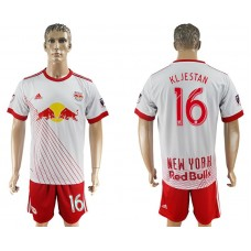Men 2017-2018 club Red Bulls home 16 white soccer jersey