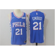 2017 NBA Philadelphia 76ers 21 Embiid blue nike Jerseys