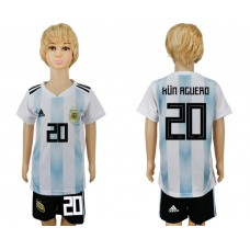 2018 World Cup Argentina home kids 20 white soccer jersey