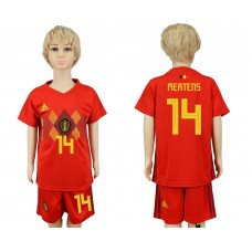 2018 World Cup Belgium home kids 14 red soccer jersey