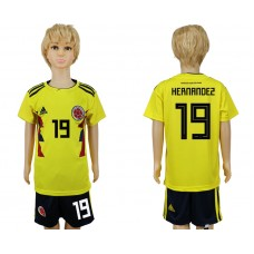 2018 World Cup Colombia home kids 19 yellow soccer jersey