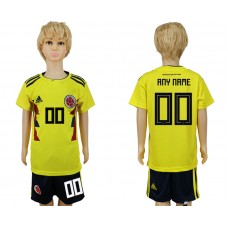 2018 World Cup Colombia home kids customized yellow soccer jersey