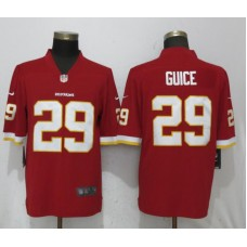 2018 Men New Nike Washington Red Skins 29 Guice Red Vapor Untouchable Limited Playe