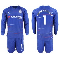 Men 2018-2019 club Chelsea ahome Long sleeve 1 blue soccer jerseys