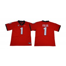 Men Georgia Bulldogs 1 Fields Red NCAA Jerseys