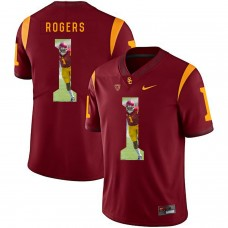 Men USC Trojans 1 Rogers Red Fashion Edition Customized NCAA Jerseys