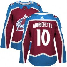 Adidas Colorado Avalanche 10 Sven Andrighetto Burgundy Home Authentic Women Stitched NHL Jersey