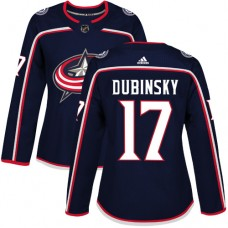 Adidas Columbus Blue Jackets 17 Brandon Dubinsky Navy Blue Home Authentic Women Stitched NHL Jersey