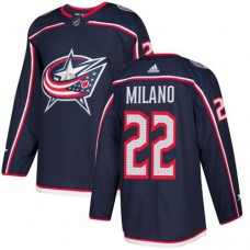 Adidas Columbus Blue Jackets 22 Sonny Milano Navy Blue Home Authentic Stitched Youth NHL Jersey