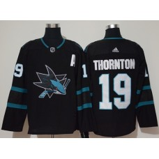 Adidas Men San Jose Sharks 19 Joe Thornton Black Alternate Authentic Stitched NHL Jersey