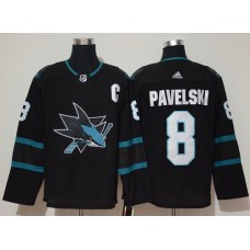 Adidas Men San Jose Sharks 8 Joe Pavelski Black Alternate Authentic Stitched NHL Jersey