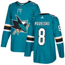Adidas Men San Jose Sharks 8 Joe Pavelski Teal Home Authentic Stitched NHL Jersey