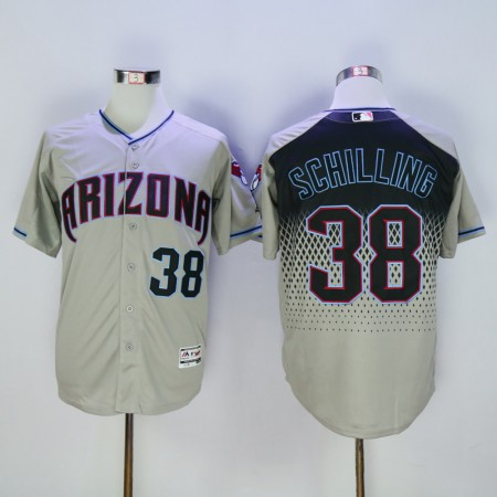 Men Arizona Diamondback 38 Schilling Grey MLB Jerseys