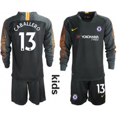 2018_2019 Club Chelsea black long sleeve Youth goalkeeper 13 soccer jerseys