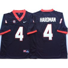 Men Georgia Bulldogs 4 Hardman Black Nike NCAA Jerseys