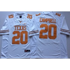 Men Texas Longhorns 20 Campbell White Nike NCAA Jerseys