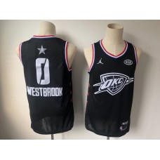 Men Oklahoma City Thunder 0 Westbrook Black 2019 All Star NBA Jerseys