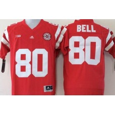 Men Nebraska Huskers 80 Bell Red NCAA jerseys