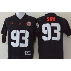 Men Nebraska Huskers 93 Suh Black NCAA jerseys