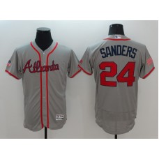2016 MLB FLEXBASE Atlanta Braves 24 Sanders Grey Fashion Jerseys