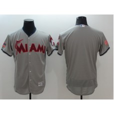 2016 MLB FLEXBASE Miami Marlins Blank Grey1 Fashion Jerseys