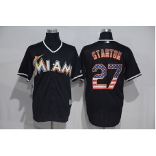 2016 MLB Miami Marlins 27 Stanton Black USA Flag Fashion Jerseys