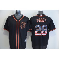 2016 MLB San Francisco Giants 28 Posey Black USA Flag Fashion Jerseys