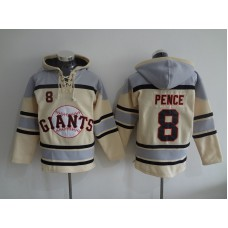 2016 MLB San Francisco Giants 8 Pence cream Lace Up Pullover Hooded Sweatshirt