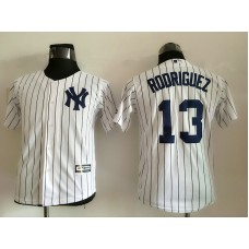 2016 MLB Youth New York Yankees 13 Rodriguez White stripes Jerseys