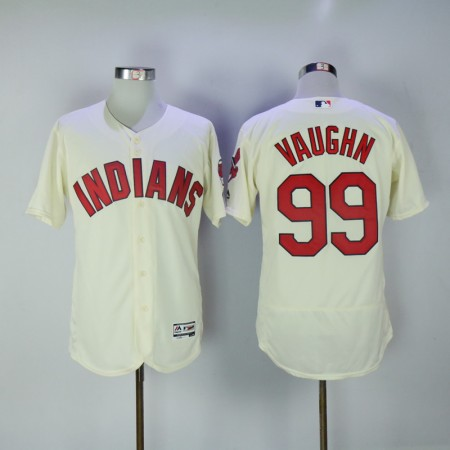 2017 MLB Cleveland Indians 99 Vaughn Cream Elite Jerseys