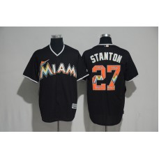 2017 MLB Miami Marlins 27 Stanton Black Fashion Edition Jerseys