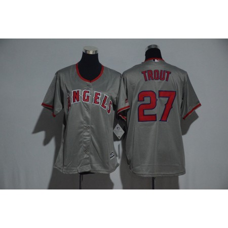 Womens 2017 MLB Los Angeles Angels 27 Trout Grey Jerseys