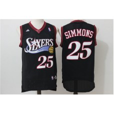 2016 NBA Philadelphia 76ers 25 Simmons Black Throwback Jerseys