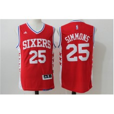 2016 NBA Philadelphia 76ers 25 Simmons Red Jerseys