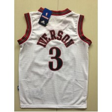 2017 NBA Philadelphia 76ers 3 Allen Iverson white kids jerseys