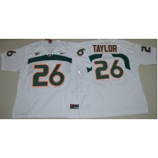 2016 NCAA Miami Hurricanes 26 Sean Taylor White College Football Jersey