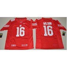 2016 NCAA UA Wisconsin Badgers 16 Russell Wilson Red College Football Jersey