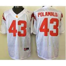 2016 NCAA USC Trojans 43 Polamalu White Jerseys