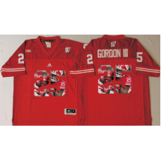 2016 NCAA Wisconsin Badgers 25 Gordon iii Red Fashion Edition Jerseys