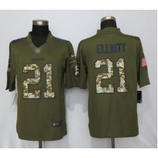 2016 Dallas Cowboys 21 Elliott Green Salute To Service New Nike Limited Jersey