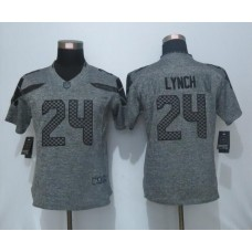 2016 Women New Nike Seattle Seahawks 24 Lynch Gray Stitched Gridiron Gray Limited Jersey