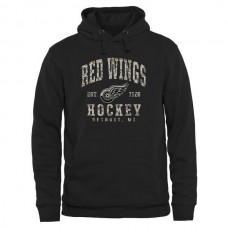 2016 NHL Men Detroit Red Wings Black Camo Stack Pullover Hoodie