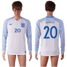 European Cup 2016 England 20 BARKLEY Home White long sleeve AAA+ Soccer Jersey